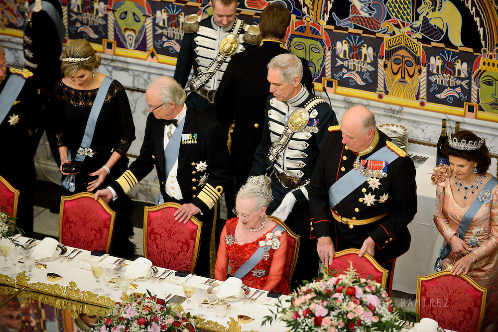 15.04.2015. Copenhagen, Denmark.<br />  Queen Maxima, King Carl XVI Gustaf of Sweden, Queen Margrethe II, King Harald of Norway and Queen Silvia of Sweden during a Gala Dinner at Christiansborg Palace on the eve of The 75th Birthday of Queen Margrethe of Denmark.<br /> Photo:© Ricardo Ramirez