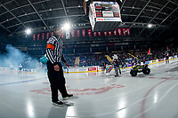 KELOWNA, CANADA - JANUARY 4:  Referee Steve Papp skates to centre ice for his 600th game at the Kelowna Rockets against the Prince George Cougars on January 4, 2019 at Prospera Place in Kelowna, British Columbia, Canada.  (Photo by Marissa Baecker/Shoot the Breeze)