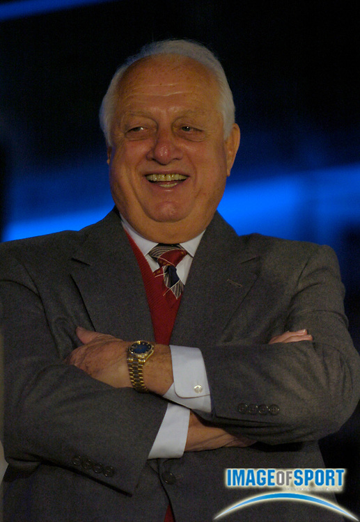 Jan 29, 2004; Los Angeles, CA, USA; Los Angeles Dodgers senior vice president Tommy Lasorda during press conference announcing sale of Los Angeles Dodgers to Frank McCourt at Dodger Stadium.