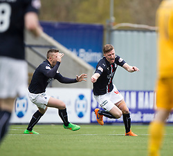 Falkirk's Paul Watson cele scoring their goal. <br /> half time : Falkirk 0 v 0 Morton, Scottish Championship game  played 1/5/2016 at The Falkirk Stadium.