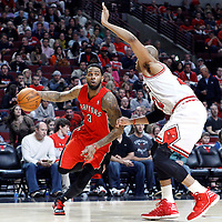 24 March 2012: Toronto Raptors forward Gary Forbes (3) drives past Chicago Bulls forward Taj Gibson (22) during the Chicago Bulls 102-101 victory in overtime over the Toronto Raptors at the United Center, Chicago, Illinois, USA.