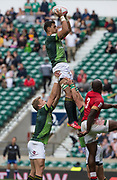 Twickenham, Surrey United Kingdom. South Africian, Chris DAY &quot;takes a clean lineout ball&quot; during the Pool A game, South Africa vs Kenya, during the &quot;2017 HSBC London Rugby Sevens&quot;,  Saturday 20/05/2017 RFU. Twickenham Stadium, England    <br /> <br /> [Mandatory Credit Peter SPURRIER/Intersport Images]