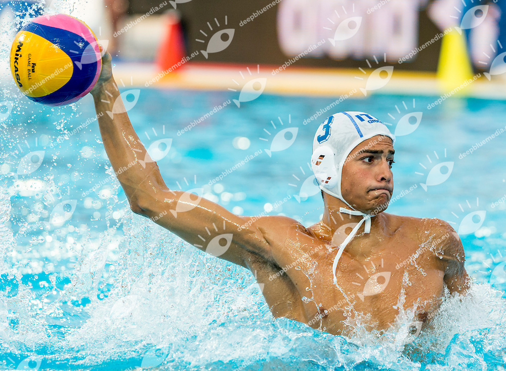 3 VELOTTO Alessandro ITA<br /> Italy (White) Vs Montenegro (Blue) Men<br /> LEN European Water Polo Championships 2014 - July 14-27<br /> Alfred Hajos - Tamas Szechy Swimming Complex<br /> Margitsziget - Margaret Island<br /> Day14 - July 27<br /> Photo Giorgio Scala/Inside/Deepbluemedia