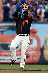 SAN FRANCISCO, CA - AUGUST 05: Pablo Sandoval #48 of the San Francisco Giants catches a fly ball hit off the bat of Daniel Descalso (not pictured) of the Arizona Diamondbacks during the fourth inning at AT&T Park on August 5, 2017 in San Francisco, California. The San Francisco Giants defeated the Arizona Diamondbacks 5-4 in 10 innings.  (Photo by Jason O. Watson/Getty Images) *** Local Caption *** Pablo Sandoval