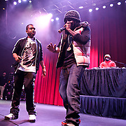 SILVER SPRING, MD - January 1st, 2012 - Rapper and D.C. native Wale (middle) performs at the Fillmore Silver Spring in Silver Spring, MD with his hype man Tre and DJ 5'9. Wale released his sophomore album, Ambition, in November. (Photo by Kyle Gustafson/For The Washington Post).
