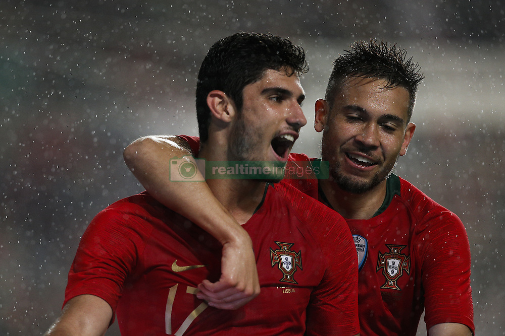 June 7, 2018 - Lisbon, Portugal - Portugal's forward Goncalo Guedes  (L) celebrates his second goal with Portugal's defender Raphael Guerreiro (R)   during the FIFA World Cup Russia 2018 preparation match between Portugal vs Algeria in Lisbon on June 7, 2018. (Credit Image: © Carlos Palma/NurPhoto via ZUMA Press)