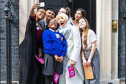 Dame Emma Thompson leads a delegation of youth ambassadors to deliver the Children's Right2Food Charter to 10 Downing Street in London . London, April 25 2019.