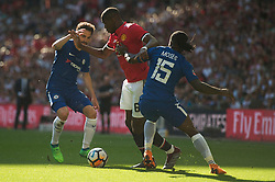 Paul Pogba of Manchester United battles for the ball with Victor Moses of Chelsea - Mandatory by-line: Alex James/JMP - 19/05/2018 - FOOTBALL - Wembley Stadium - London, England - Chelsea v Manchester United - Emirates FA Cup Final
