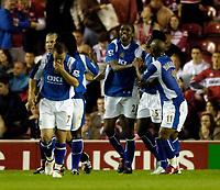 Photo: Jed Wee.<br /> Middlesbrough v Portsmouth. The Barclays Premiership. 28/08/2006.<br /> <br /> Portsmouth celebrate with goalscorer Nwankwo Kanu (C).