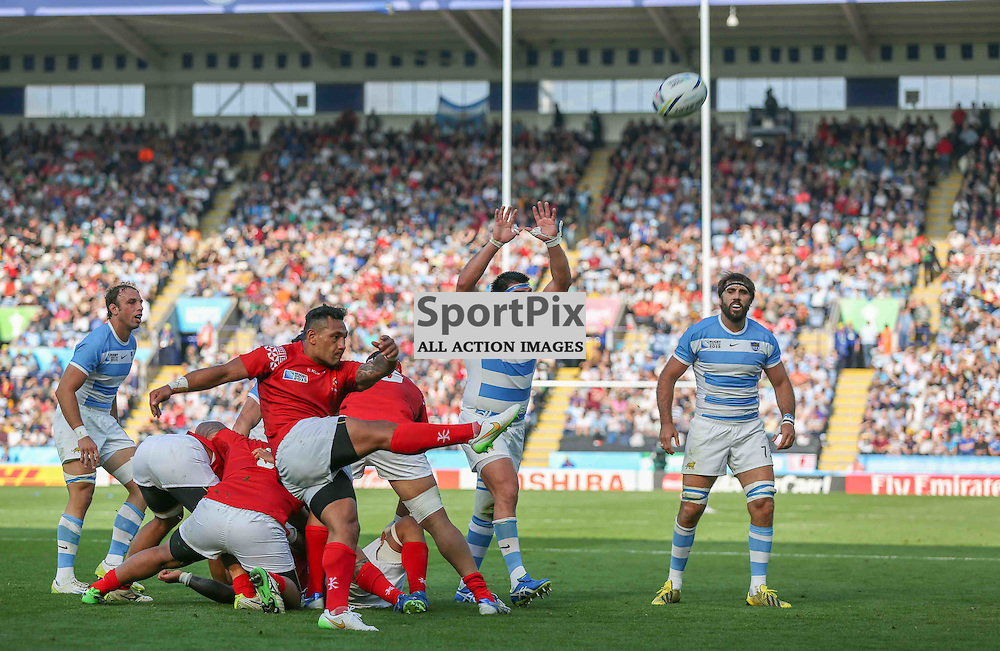 Sonotane Takulua of Tonga kicks during the Rugby World Cup Argentina v Tonga, Sunday 04 October 2015, Leicester City Stadium, Leicester, England Stadium (Photo by Mike Poole - SportPix)