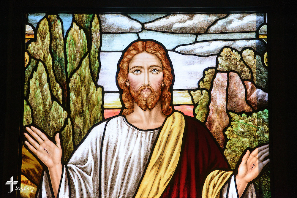 Stained glass of Jesus at St. John's Lutheran Church of Plymouth, Wis., on Friday, Jan. 29, 2016. LCMS Communications/Erik M. Lunsford