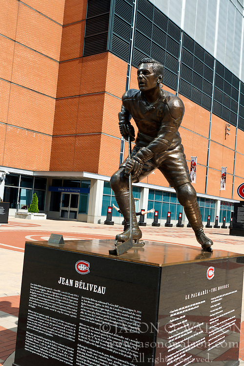 Statue of Montreal Canadiens hockey player Jean Beliveau outside of the Bell Centre, Montreal, Quebec, Canada