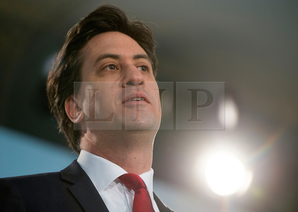 © Licensed to London News Pictures.01/03/2014. LONDON, UK Ed Miliband, leader of the Labour Party, delivers his Leaders Speech. The Labour Party Special conference today at Excel London on 1st March 2014.  Photo credit : Stephen Simpson/LNP