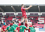 Scarlets' Steven Cummins claims the lineout<br /> <br /> Photographer Simon King/Replay Images<br /> <br /> EPCR Champions Cup Round 3 - Scarlets v Benetton Rugby - Saturday 9th December 2017 - Parc y Scarlets - Llanelli<br /> <br /> World Copyright © 2017 Replay Images. All rights reserved. info@replayimages.co.uk - www.replayimages.co.uk
