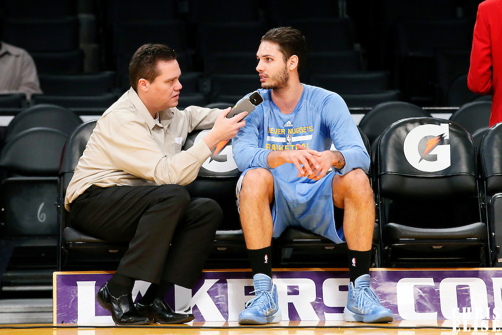 05 January 2014: Denver Nuggets shooting guard Evan Fournier (94) answers a journalist prior to the Denver Nuggets 137-115 victory over the Los Angeles Lakers at the Staples Center, Los Angeles, California, USA.