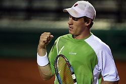 Grega Zemlja of Slovenia at 1st Round of ATP Challenger BMW Ljubljana Open 2008, on September 8, 2008, Ljubljana, Slovenia. (Photo by Vid Ponikvar / Sportal Images)...