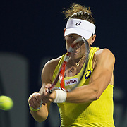 August 21, 2014, New Haven, CT:<br /> Samantha Stosur hits a backhand during a match against Kirsten Flipkens on day seven of the 2014 Connecticut Open at the Yale University Tennis Center in New Haven, Connecticut Thursday, August 21, 2014.<br /> (Photo by Billie Weiss/Connecticut Open)