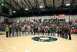 20 February 2016:  The band seniors and their parents or escorts during an NCAA men's division 3 CCIW basketball game between the Elmhurst Bluejays and the Illinois Wesleyan Titans in Shirk Center, Bloomington IL