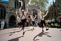 © Licensed to London News Pictures. 12/05/2012, London, UK.  Woodside Morris Men dance outside the Westminster Abbey in London as Morris men from around the country gather in London for a Westminster Morris Men Day of Dance, Saturday, May 12, 2012. Photo credit : Sang Tan/LNP