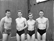 Swimming - Irish Universities vs English Universities at Clontarf Baths.Jones, W. F. (Queen's University Belfast) on extreme left along with Gordon, D. (Queen's University Belfast) second from left plus other .Members of the Irish Universities Water Polo Team who were defeated by England at Clontarf.18/07/1953