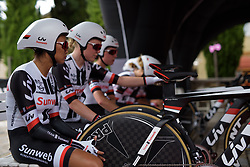 Sunweb wait to be called on Stage 1 of the Giro Rosa - a 11.5 km team time trial, between Aquileia and Grado on June 30, 2017, in Friuli-Venezia Giulia, Italy. (Photo by Sean Robinson/Velofocus.com)