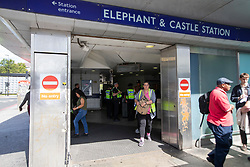 © Licensed to London News Pictures. 02/09/2019. London, UK. Police Officers are seen inside Elephant and Castle station after two men were found seriously injured following a stabbing last night. A murder investigation has been launched following the death of one of the victims.Photo credit: George Cracknell Wright/LNP