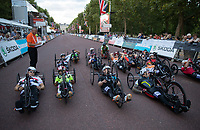 A view of the start line as the riders prepare to cycle up The Mall in The Prudential RideLondon Handcycle Grand Prix. Saturday 28th July 2018<br /> <br /> Photo: Ian Walton for Prudential RideLondon<br /> <br /> Prudential RideLondon is the world's greatest festival of cycling, involving 100,000+ cyclists - from Olympic champions to a free family fun ride - riding in events over closed roads in London and Surrey over the weekend of 28th and 29th July 2018<br /> <br /> See www.PrudentialRideLondon.co.uk for more.<br /> <br /> For further information: media@londonmarathonevents.co.uk