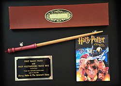 Harry Potter and The Philosopher's Stone, 2001.  Wooden prop wand.  Est:£600-800. Christie's London Pop Culture photocall.  Collection of important memorabilia from the past century to auction on November 29 at Christie's London. Christie's London, United Kingdom, November 23, 2012. Photo by Nils Jorgensen / i-Images.