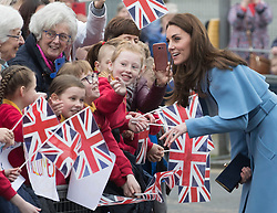 February 28, 2019 - Ballymena, United Kingdom - Image licensed to i-Images Picture Agency. 28/02/2019.  Ballymena, Northern Ireland, United Kingdom. The  Duchess of Cambridge on a walkabout outside the Braid Centre in Ballymena on the second day of her trip to Northern Ireland. (Credit Image: © Stephen Lock/i-Images via ZUMA Press)