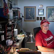 SEPTEMBER 19, 2016--- BOCA RATON, FLORIDA<br /> Ted Seymour, a 77 year old retired Brittish born Donald Trump supporter, sits in his home office in his Boca Raton home.<br /> (Photo by Angel Valentin/Freelance)