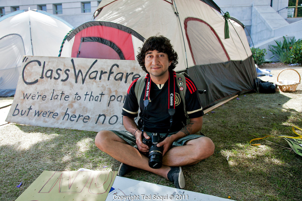 Day 18 at Occupy L.A. around L.A. city Hall.<br /> Joe Briones at his tent at L.A. city Hall.