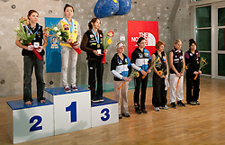 Second placed Mina Markovic of Slovenia, winner Jain Kim of Korea, third placed Akiyo Noguchi of Japan, fourth placed Angela Eiter of Austria, fifth placed Katharina Posch of Austria, sixth placed Natalija Gros of Slovenia, seventh placed Maja Vidmar of Slovenia and eighth placed Yuka Kobayashi of Japan at medal ceremony during Final IFSC World Cup Competition in sport climbing Kranj 2010, on November 14, 2010 in Arena Zlato polje, Kranj, Slovenia. (Photo By Vid Ponikvar / Sportida.com)