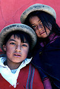 Puruhua Indian boy and his sister, Chimborazo province, Ecuador