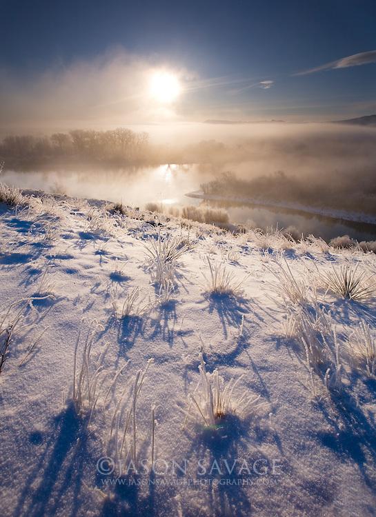 Cold morning along the Missouri river near Cascade,Montana.