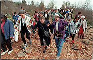 MEDJUGORJE, BOSNIA-HERCEGOVINA:  Pilgrims make their way up the hill of Podbrdo of Mount Crnica, now called Apparition Hill, near Medjugorje. The site, visited by millions of pilgrims, is where 6 children claimed to have first been visited by the Virgin Mary in 1981.  (Photo by Robert Falcetti). .