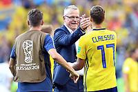 Schlussjubel v.l. Trainer Janne Andersson, Viktor Claesson (Schweden)<br /> Nischni Nowgorod, 18.06.2018, FIFA Fussball WM 2018 in Russland, Vorrunde, Schweden - Suedkorea 1:0<br /> Sverige - Syd-korea<br /> <br /> Norway only