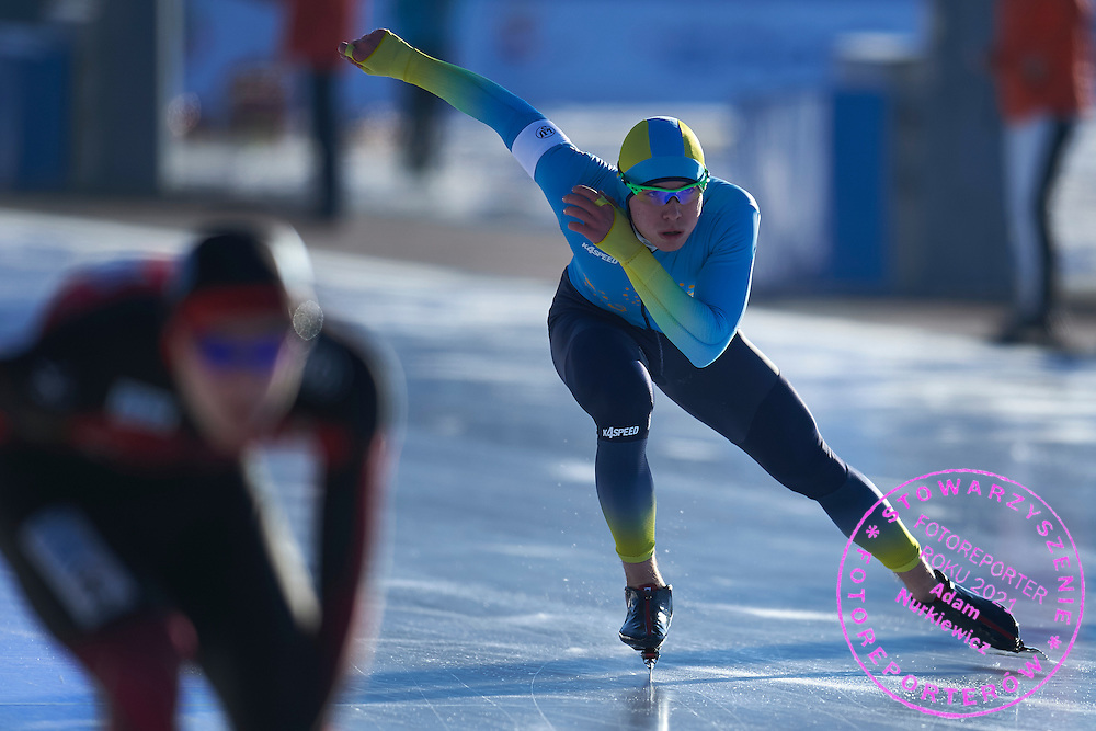 Dmitry Morozov from Kazachstan competes in the men's 1500 meters final during First Day of the ISU Junior World Cup Speed Skating on Stegny Ice Track on February 14, 2015 in Warsaw, Poland.<br /> <br /> Poland, Warsaw, February 14, 2015<br /> <br /> Picture also available in RAW (NEF) or TIFF format on special request.<br /> <br /> For editorial use only. Any commercial or promotional use requires permission.<br /> <br /> Adam Nurkiewicz declares that he has no rights to the image of people at the photographs of his authorship.<br /> <br /> Mandatory credit:<br /> Photo by &copy; Adam Nurkiewicz / Mediasport