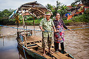 Portrait of Pak Among (70) and Ibu Emin (56), river crossers (husband and wife team).  Sukamaju Village, Majalaya.  ..Credit: Andri Tambunan for Greenpeace