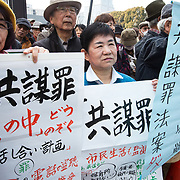 TOKYO, JAPAN - MARCH 19 : Anti-Abe protesters gather with placards and banners in front of Tokyo parliament during a rally, denouncing his government policies and calling on the Japanese prime minister to resign, Tokyo, Japan, March 19, 2017.  (Photo: Richard Atrero de Guzman/NUR Photo)