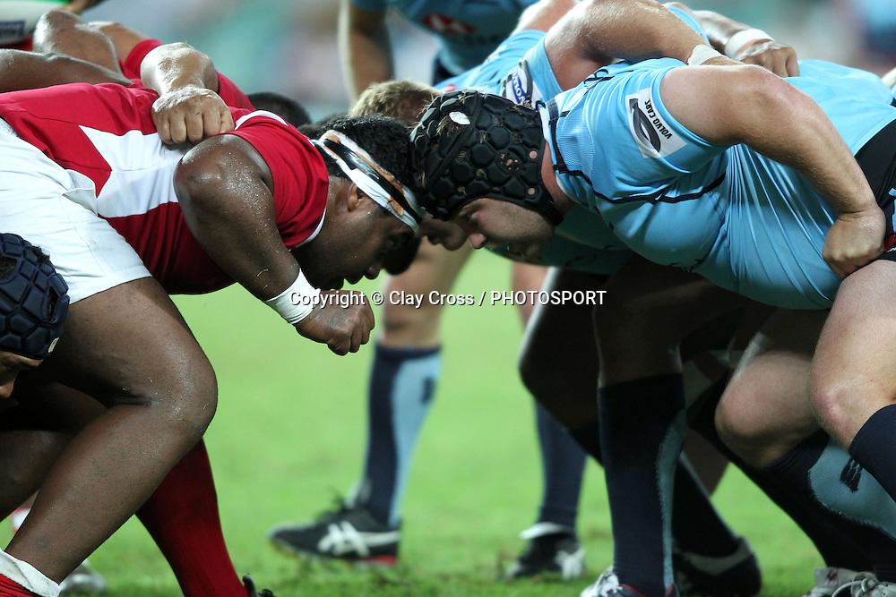 A scrum during the Super Rugby pre season, Waratahs v Tonga, Sydney Football Stadium, Sydney. Friday 17 February 2012. Photo: Clay Cross/photosport.co.nz