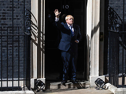 © Licensed to London News Pictures. 24/07/2019. London, UK. Prime Minister Boris Johnson waves from the steps of 10 Downing Street. Photo credit: Rob Pinney/LNP