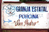 Farm sign in Guanajay, Artemida, Cuba.