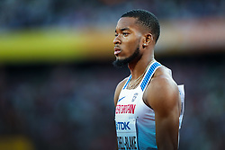 London, 2017 August 07. Nethaneel Mitchell-Blake, Great Britain,, in the men's 200m semi-final on day four of the IAAF London 2017 world Championships at the London Stadium. © Paul Davey.