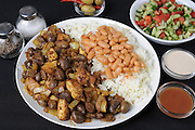 Meorav Yerushalmi (lit. Jerusalem Mix) Spicy Chicken meat and internal organs with rice and beans