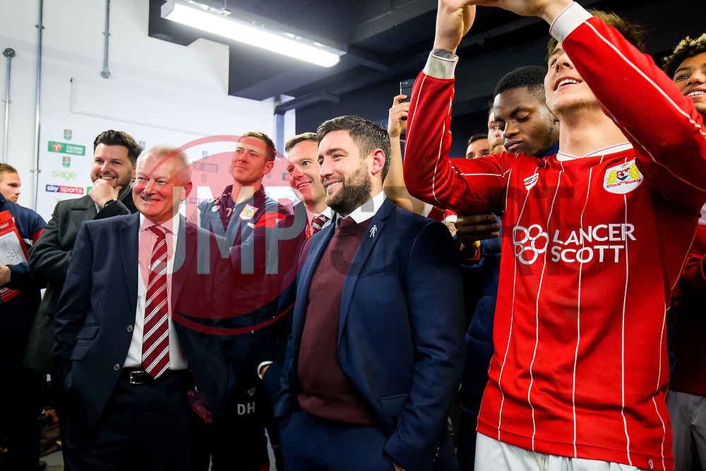 Bristol City owner Steve Lansdown and  Head Coach Lee Johnson watch the semi final draw with their players after Korey Smith of Bristol City scores a goal in the 93rd minute to make it 2-1 and win the match for his side - Rogan/JMP - 20/12/2017 - Ashton Gate Stadium - Bristol, England - Bristol City v Manchester United - Carabao Cup Quarter Final.