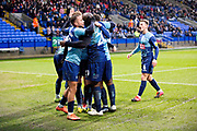 Wycombe celebrate Wycombe Wanderers defender Joe Jacobson scoring a goal during the EFL Sky Bet League 1 match between Bolton Wanderers and Wycombe Wanderers at the University of  Bolton Stadium, Bolton, England on 15 February 2020.