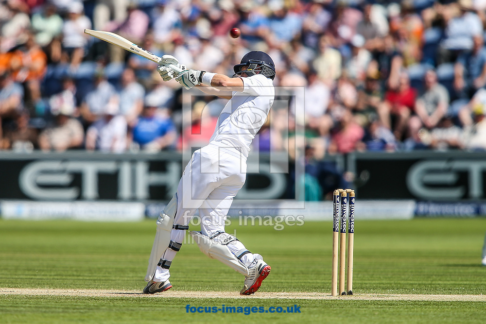 Ian Bell of England swings at a high delivery during the Investec Ashes Series Test Match at Sophia Gardens, Cardiff<br /> Picture by Andy Kearns/Focus Images Ltd 0781 864 4264<br /> 10/07/2015