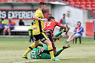February 12, 2017: Western Sydney Wanderers defender Jonathan ASPROPOTAMITIS (22) almost gets to the ball at Round 19 of the 2017 Hyundai A-League match, between Western Sydney Wanderers and Central Coast Mariners played at Spotless Stadium in Sydney.