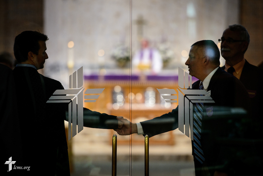 Ushers shake hands at the end of the second service at St. Luke's Lutheran Church on Sunday, March 6, 2016, in Oviedo, Fla. LCMS Communications/Erik M. Lunsford