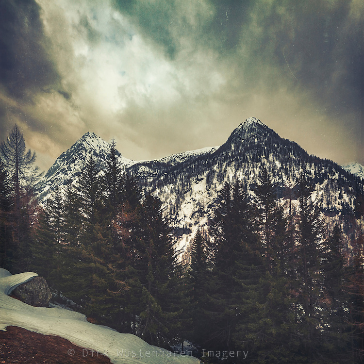 View of snow covered mountains in the Italian alps near Chiareggio in Valmalenco - textured photograph<br /> Society6 products of this: https://society6.com/product/alpine-twin-peaks_print#1=45